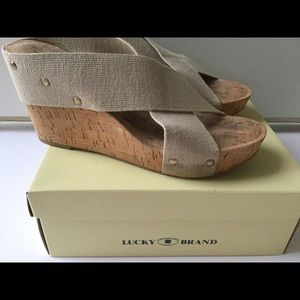 LUCKY khaki cork wedge sandals